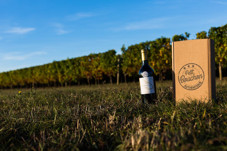 bouteille et pack dans une vigne - Photo pour le site ptit bouchon, vente de vin en ligne